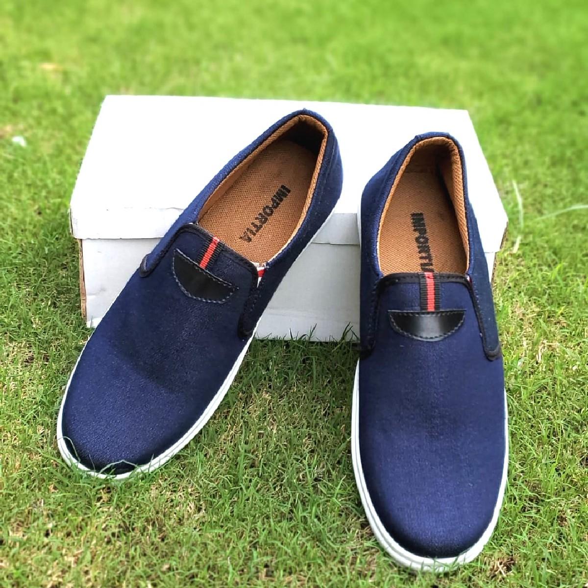 Men's Blue Colour Classic Heavy Denim Fabric Sneaker Shoes