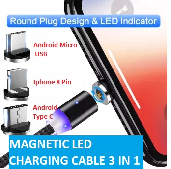 Magnetic Charging Cable 3 in 1 Compatible with IOS Android Micro USB Type C Connectors / Pins - LED Charging Cable for Android Devices and apple Nylon Braided Cable Fast Grip High Quality Charging Wire Easily Change Connector All in 1 Cable