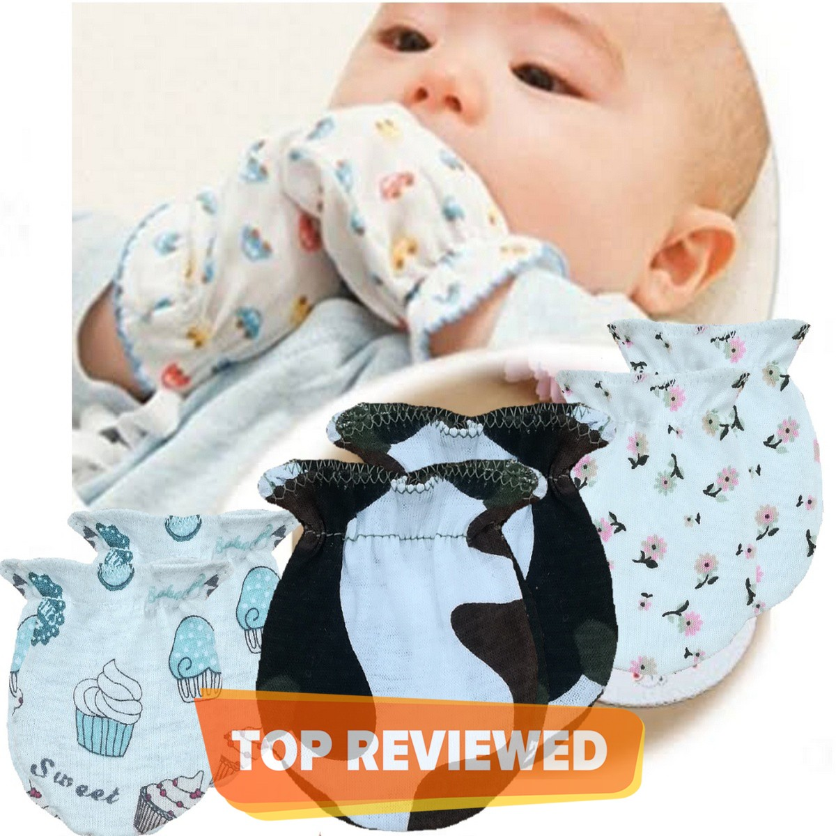 Pack Of 3 Pairs Soft Cotton Baby Mittens / Gloves For Newborn Babies infants