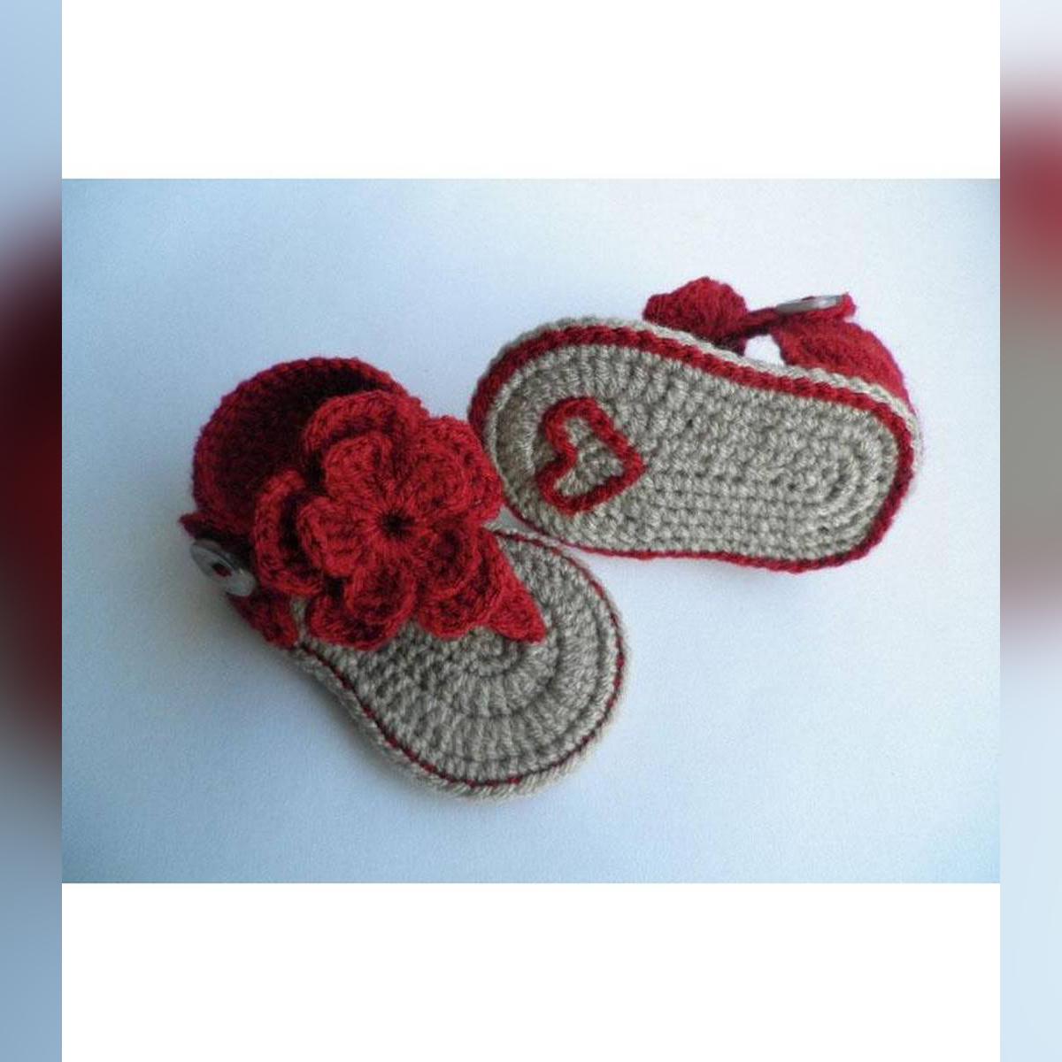 Top Flower Woolen Handmade Crochet Baby Summer Sandal