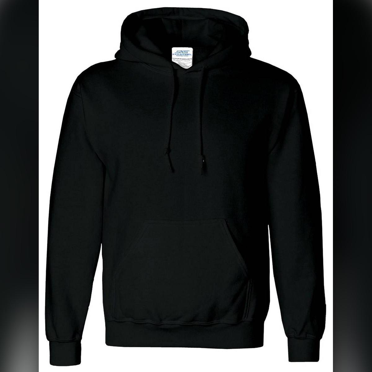 Black Cotton Plain Hoodie For Mens