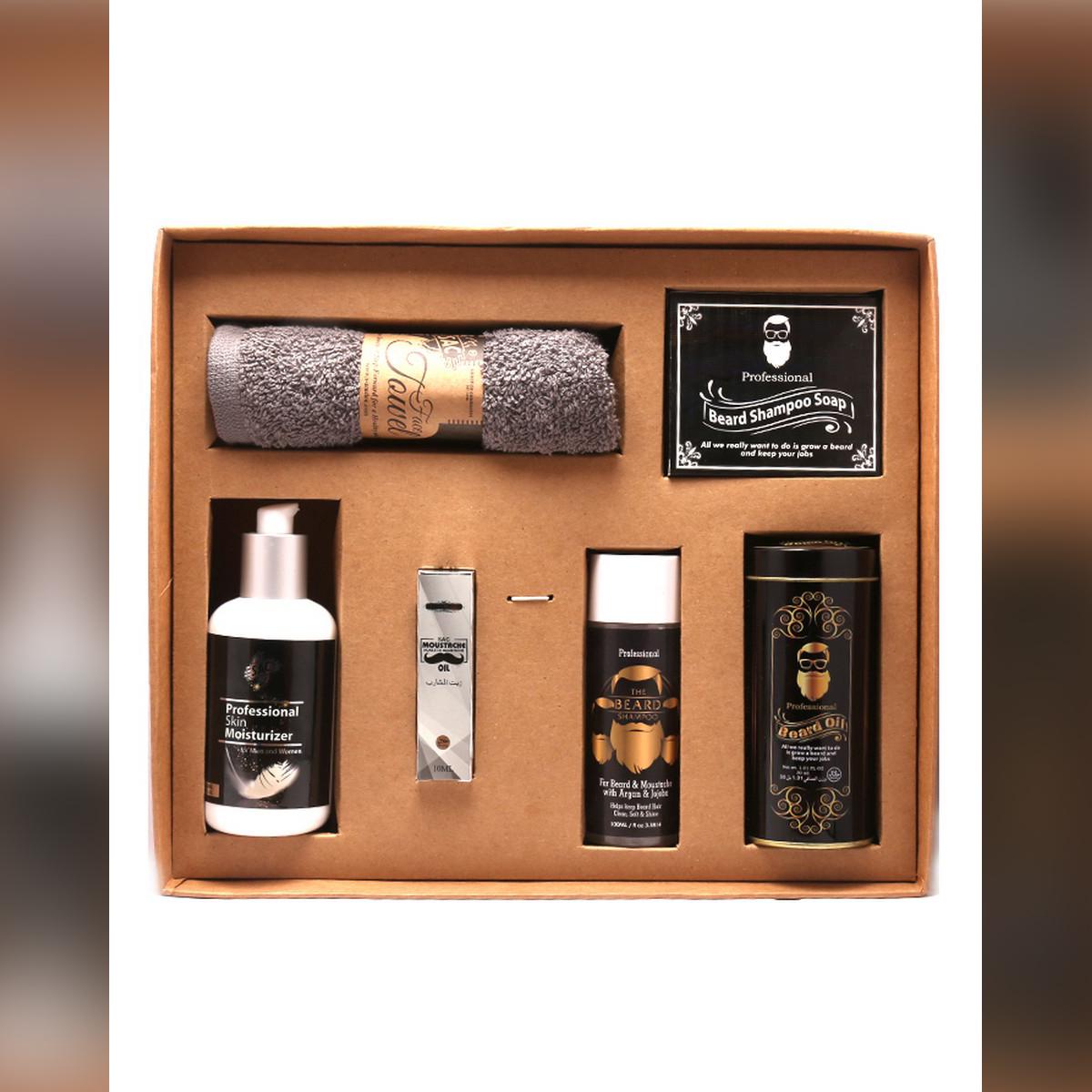Beard kit - Grooming Kit  - Beard Oil Strong + Moustache Oil + Beard Bar + Beard Shampoo + Skin Lotion + Face Towel - SAC