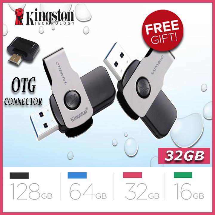 Kingston 16/32/64/128 GB Pendrive + Data Traveler SWIVL High Speed 3.1 Flash Memory Stick USB Drive + FREE OTG adapter - 6 Months WARRANTY