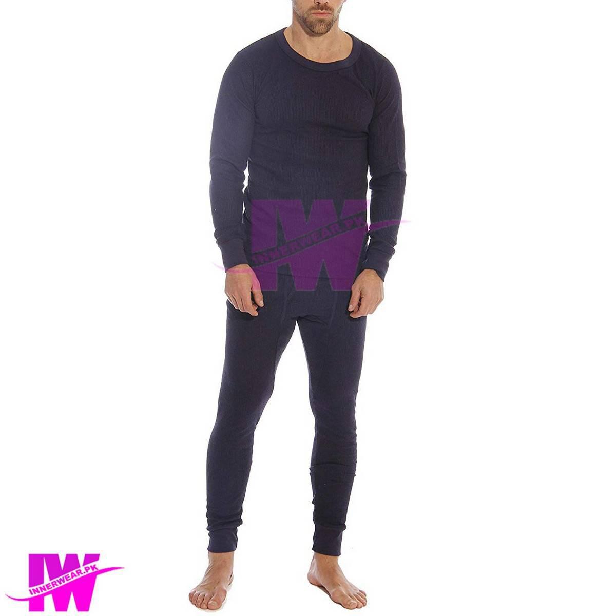 Men Premium Full Body Suit Thermal Body Warmer Skin Tight Stretchable Innerwear Winter Warm Long Johns Trouser Pajama Full Sleeve Shirt Navy Blue