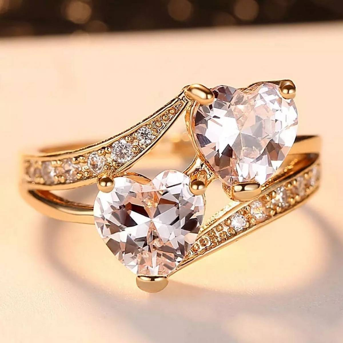 Glamour Couple Double Love Zircon Engagement Ring For Girls