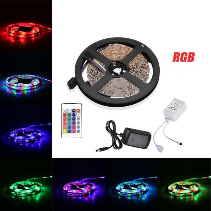 Flexible SMD 5050 RGB LED Strip Lights , Multi-Colors , 300 LEDs , Color Changing, Pack of 16.4ft/5m Strips With Remote Controller and AC Adapter