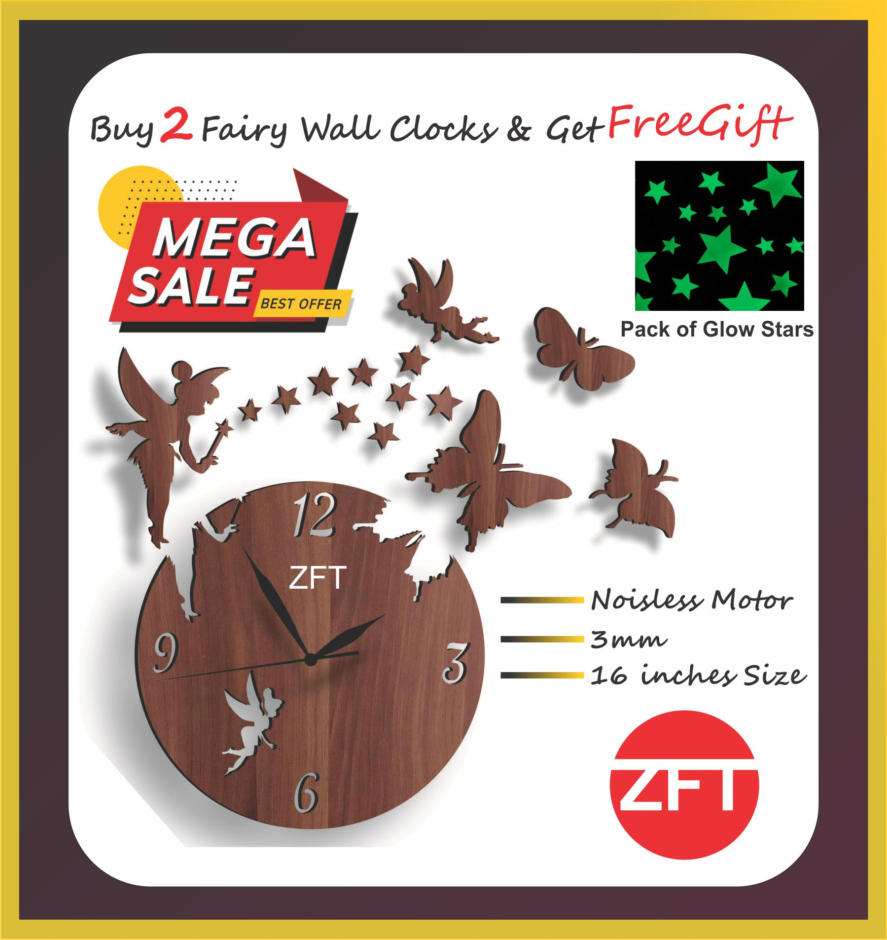 Modern New Fairy 3D DIY Laser Cut Wooden Wall Clock in MULTICOLOUR 12 Inches Size,Fairy With Stars,Angel & Butterflies For Home Decor,For Kids Room Wall Hanging Decoration Living Room Bedroom Home Office bedroom 3d fairy wood world map