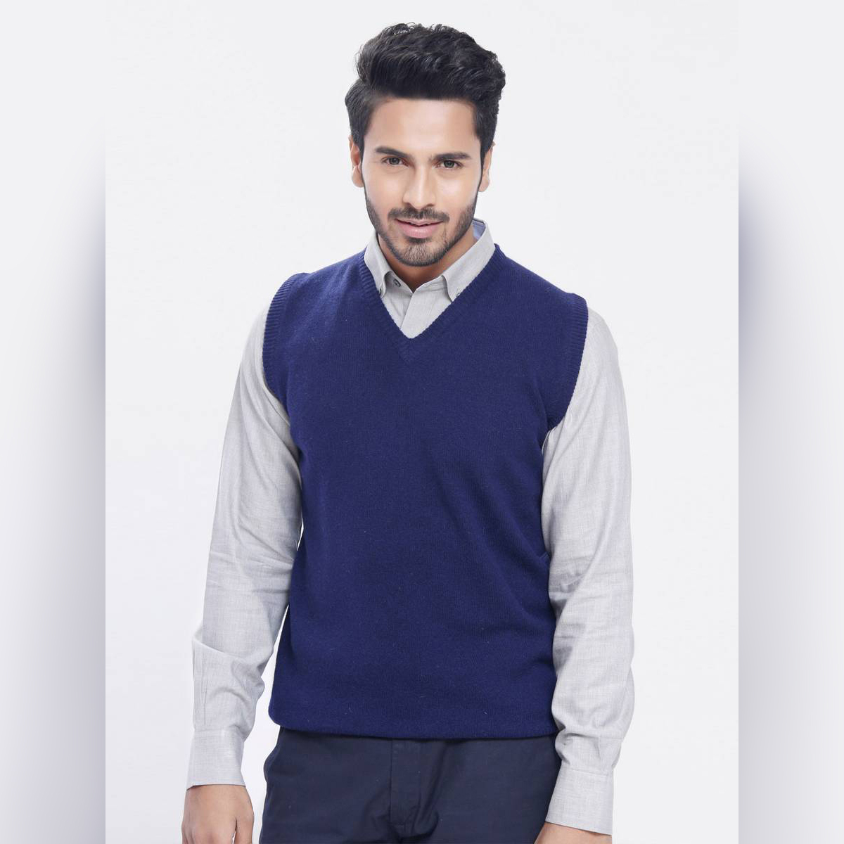 BWS |Sleeve Less Fleece Sweaters In Blue For Him !