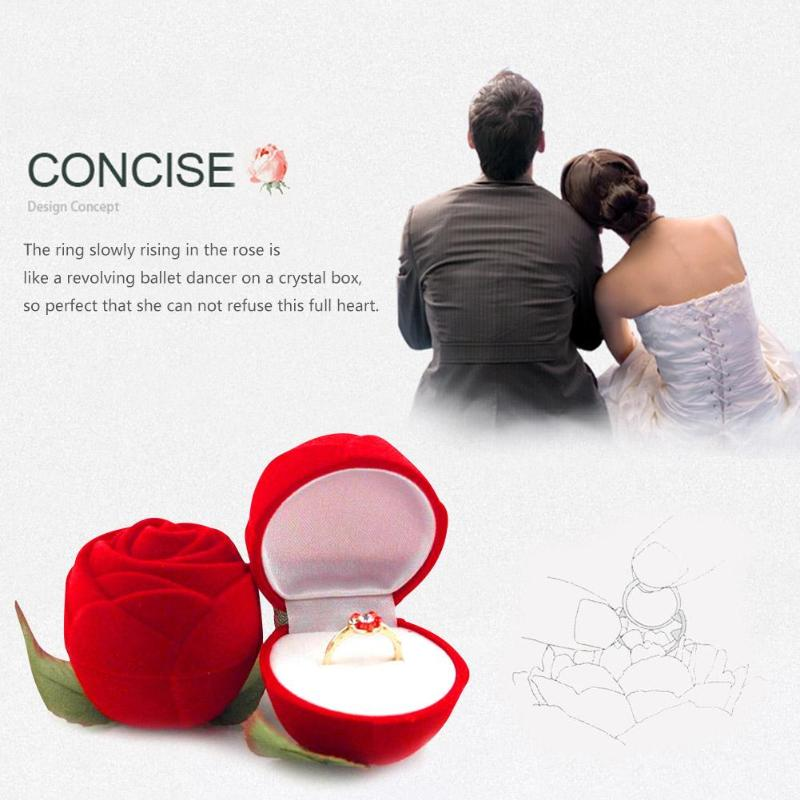 Velvet Wedding Ring Gift Box Display Jewelry Packaging Gift Container Red 1pc