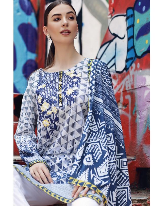 So Kamal Women Summer Collection Blue-White 2 PCS Stitched- Embroidered  Suit Int:L DPL 19-297