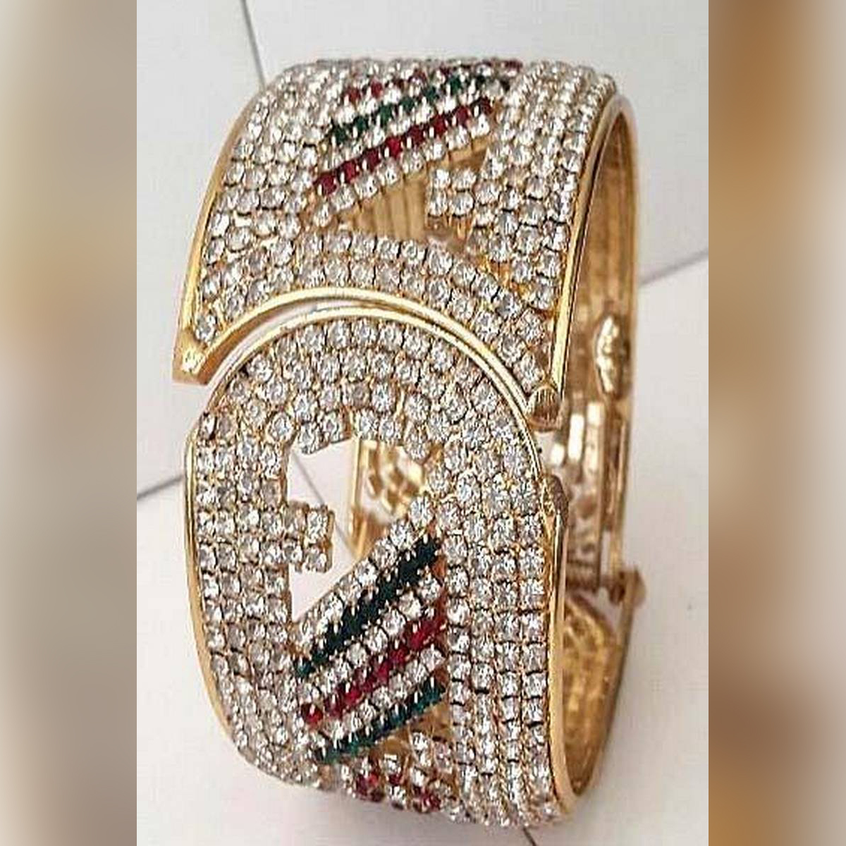 1 K Gold Plated Stone Bangles For Women (ADJUSTABLE SIZE)