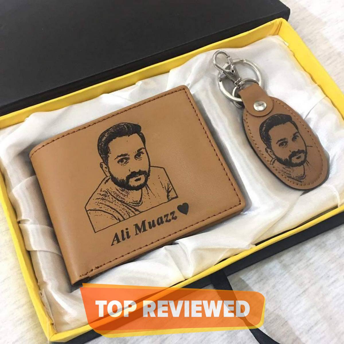 Customize Name And Picture Engraved On Wallet and Keychain With Gift Box Packing