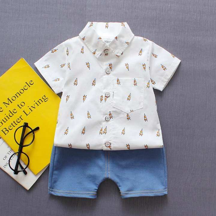 Rainbowroom Toddler Baby Boys Gentleman T-shirt Tops Denim Pants Shorts Outfits Clothes Set