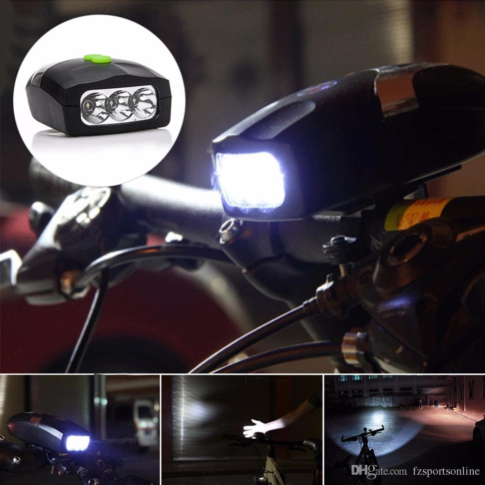 3LED Bicycle Front Head Light & Bell Horn Hooter Siren Alarm / Cycle Light
