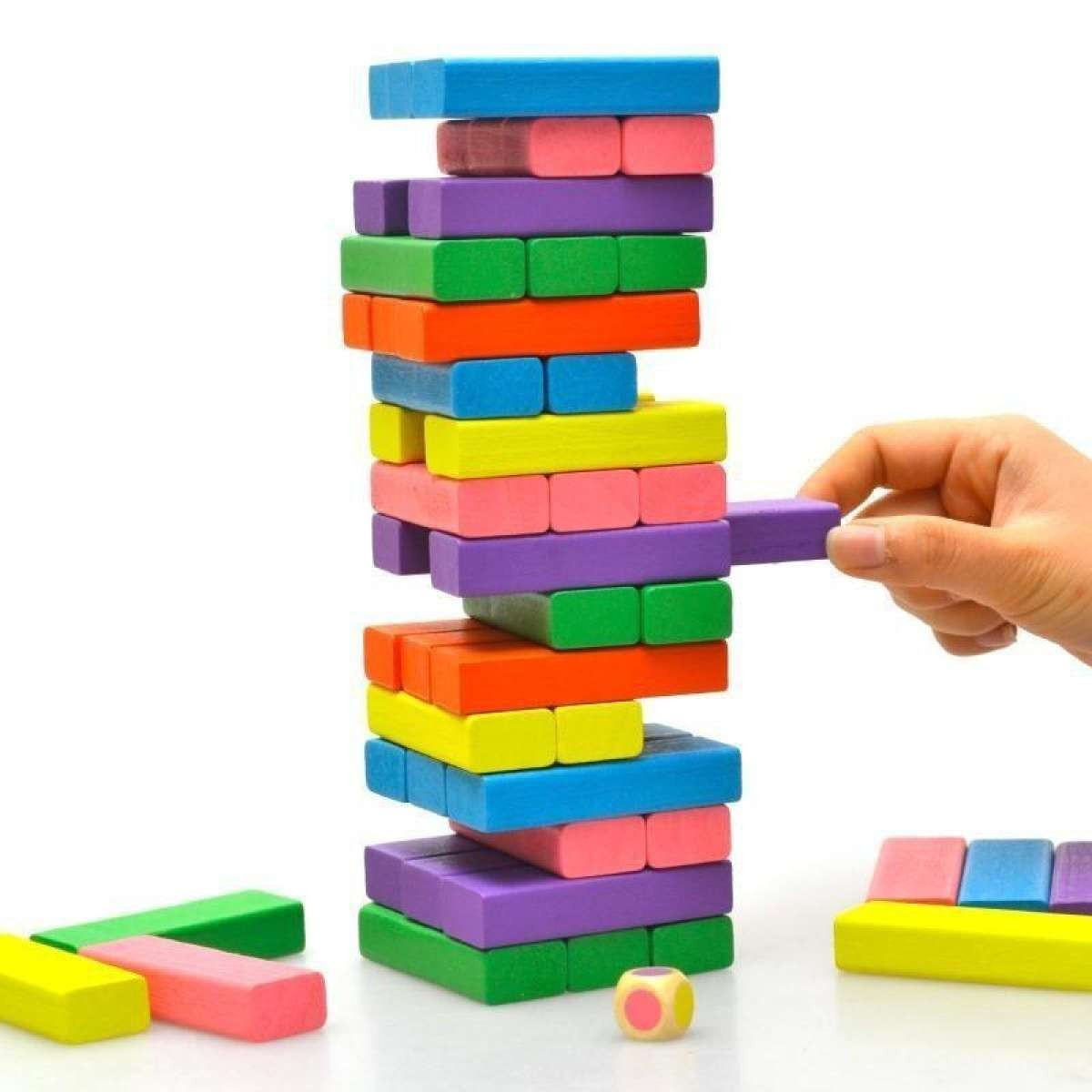 Jenga Wooden Kids Game Small Size 52 Blocks with 2 Dice Stacking Tumbling Tower Multicolor
