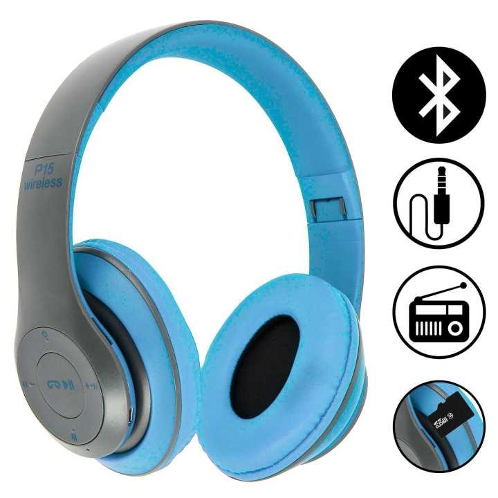 P-15 - Wireless Deep Bass Stereo Headphones - Blue & Black