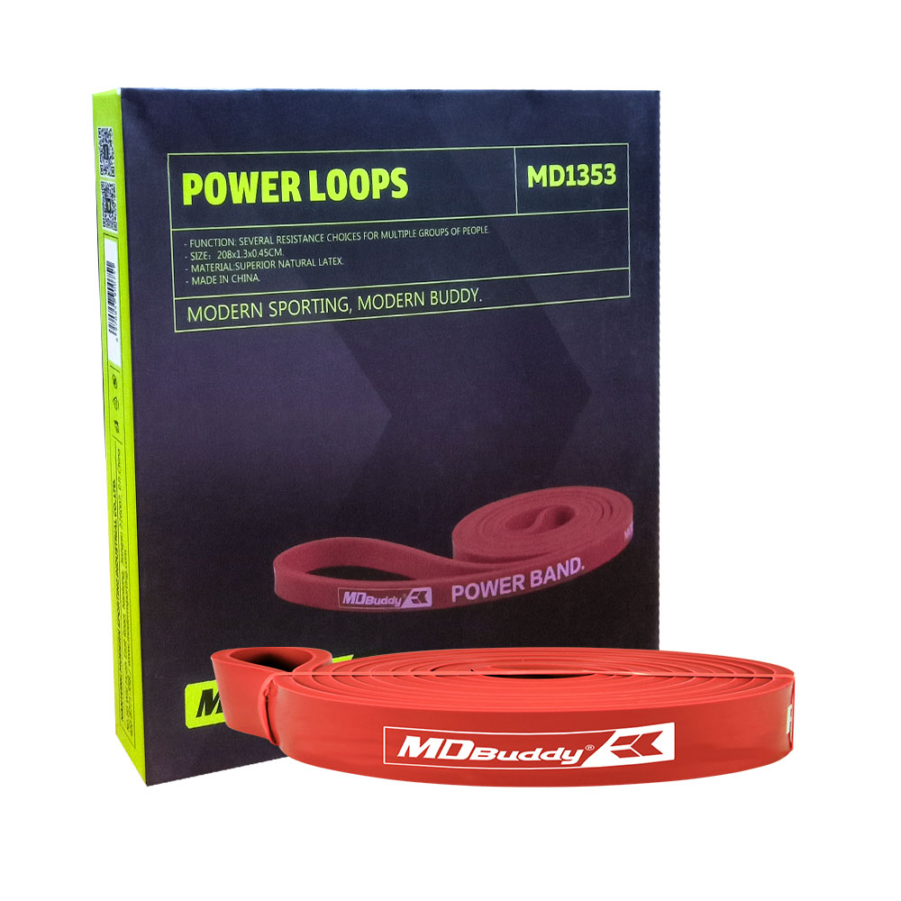 MD BUDDY 1PC RED LOOP 13mm POWER BAND GYM TRAINING EXERCISE STRETCH BAND RESISTANCE LEVEL ONE BAND 20-35LBs MD1353