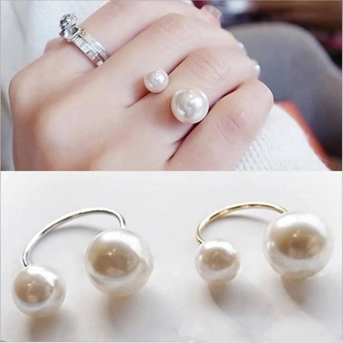 Silver Pearls Girls Ring Trendy Fashion Jewellery Women Rings