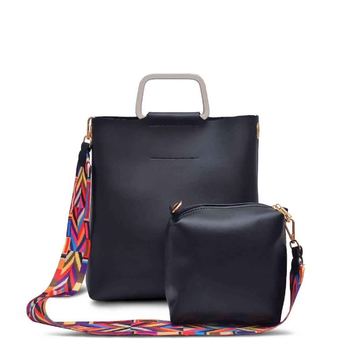 Astore Silver Aluminium Handle Colorful Fix Detachable Strap Faux Leather Two Pieces Black Handbag and Shoulderbag