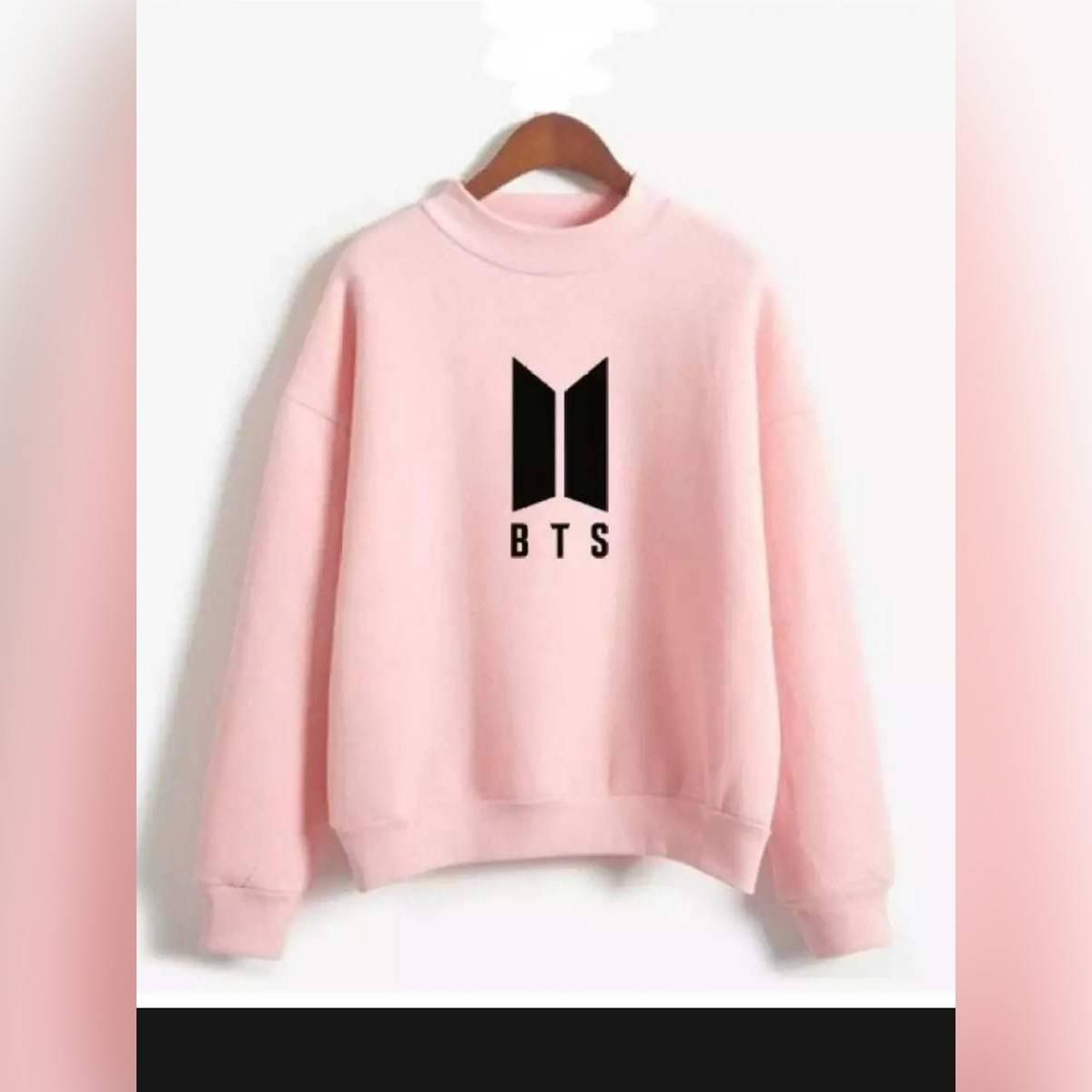 Light pink  BTS printed Sweatshirt for girls
