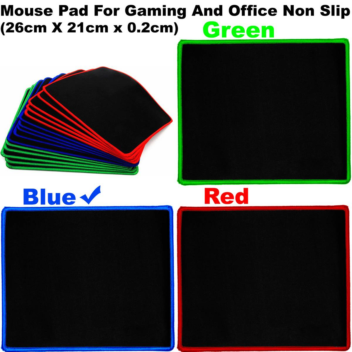 Mouse Pad For Gaming And Office Non Slip Rubber With Locking Edge Large (26cm X 21cm x 0.2cm)