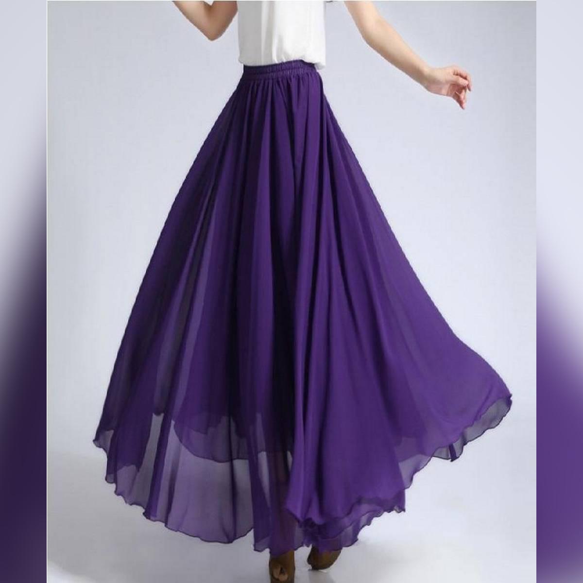 Purple Chiffon Maxi Skirt for Women