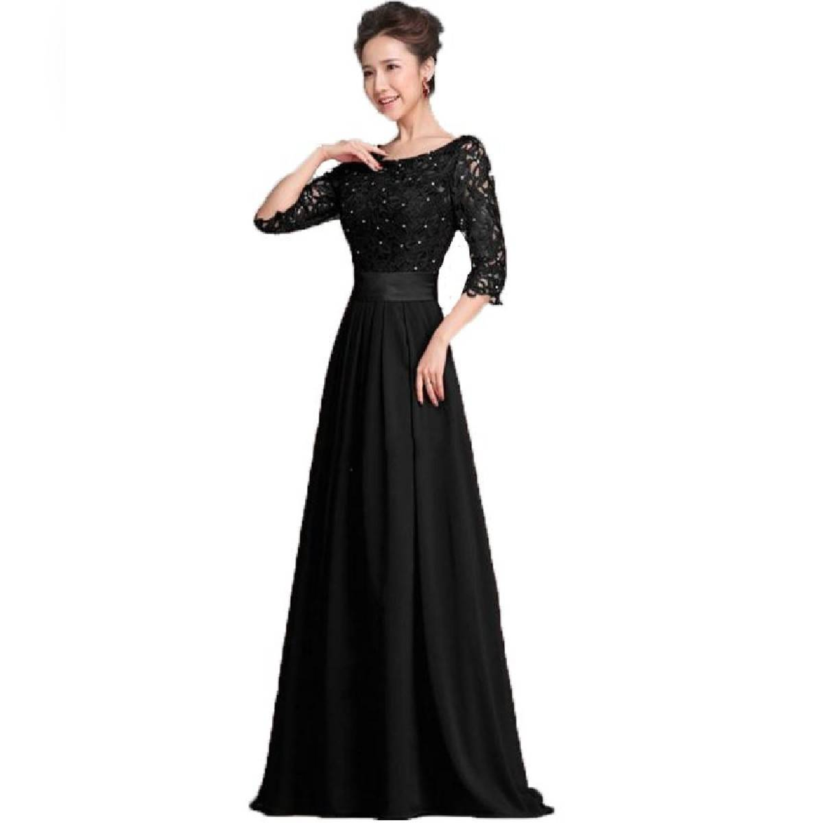 Black Evening Dress With Pearl Detailing For Women