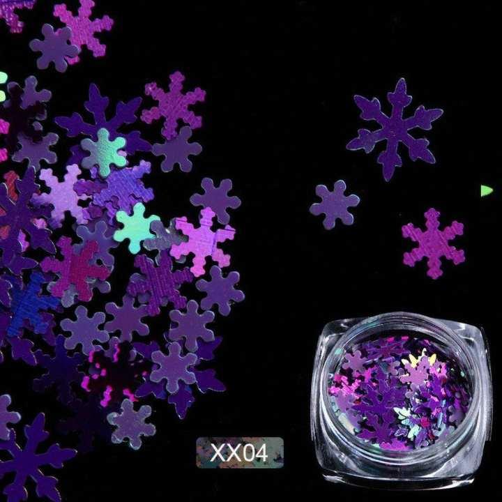 XX01 Nail Glitter Christmas Snowflake Shape  Paillette Manicure Slice