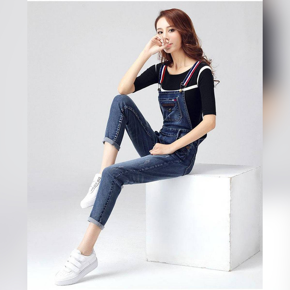 Blue denim Rompers with red & white Youngster straps for women DR-006