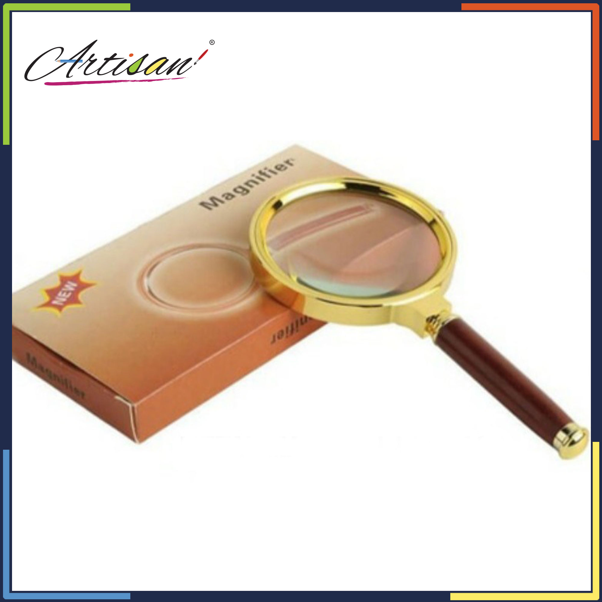 Red Brown Handle 60mm / 10X Jewelry Loupe for School, Offices, Doctors