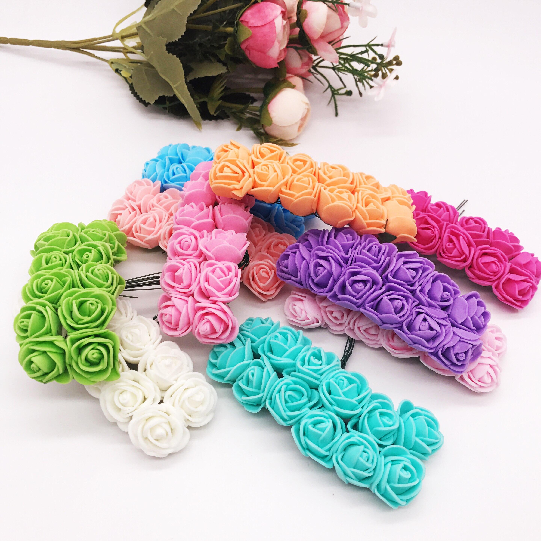 Pack of 36-2cm Mini Artificial Rose Flowers Wedding Bride Bouquet Home Décor Rose Flowers
