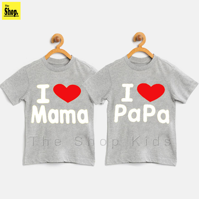 The Shop - I Love MAMA & PAPA T-Shirt For Kids Boy & Girls - B-MP2