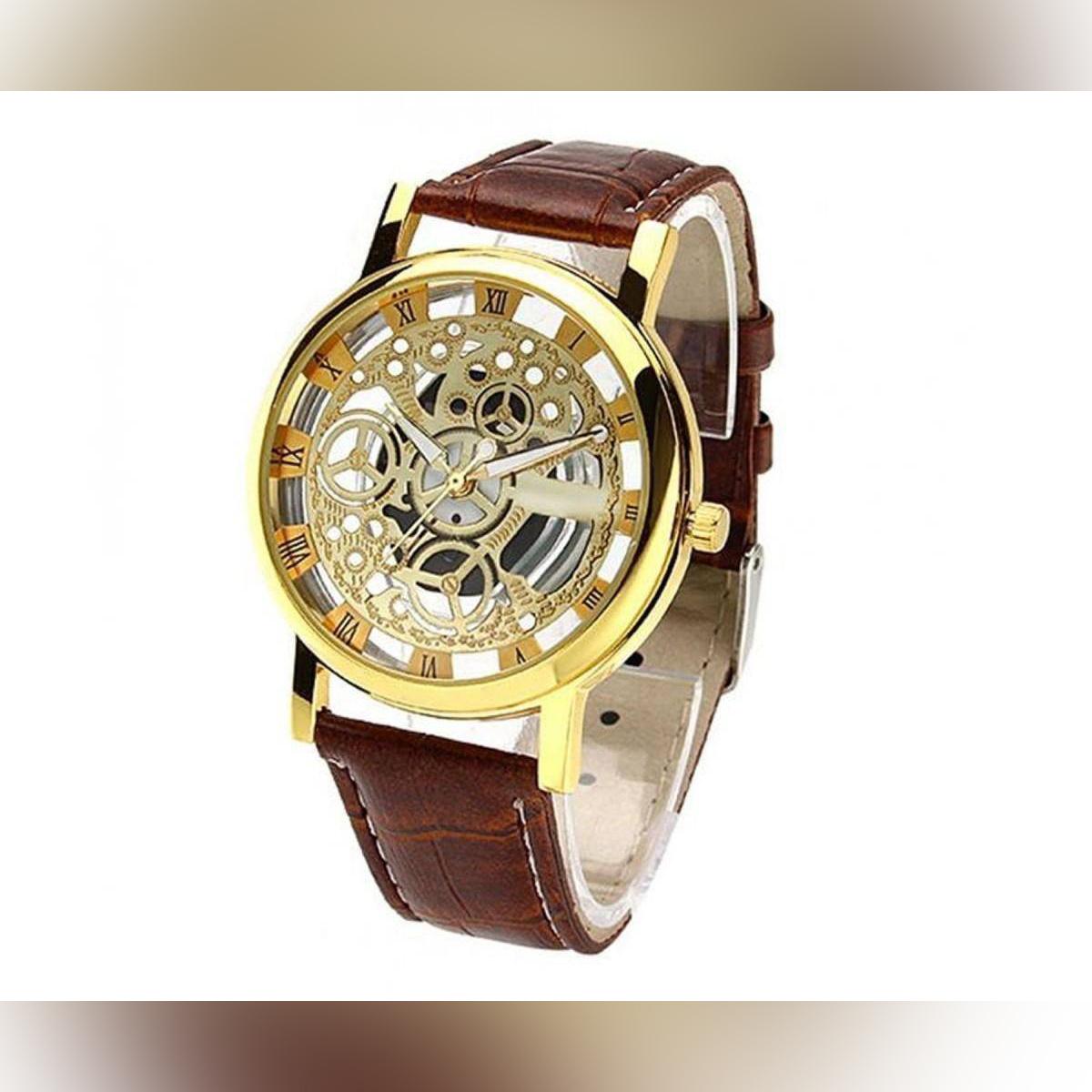 Rovite Golden Transparent Mechanical Watch