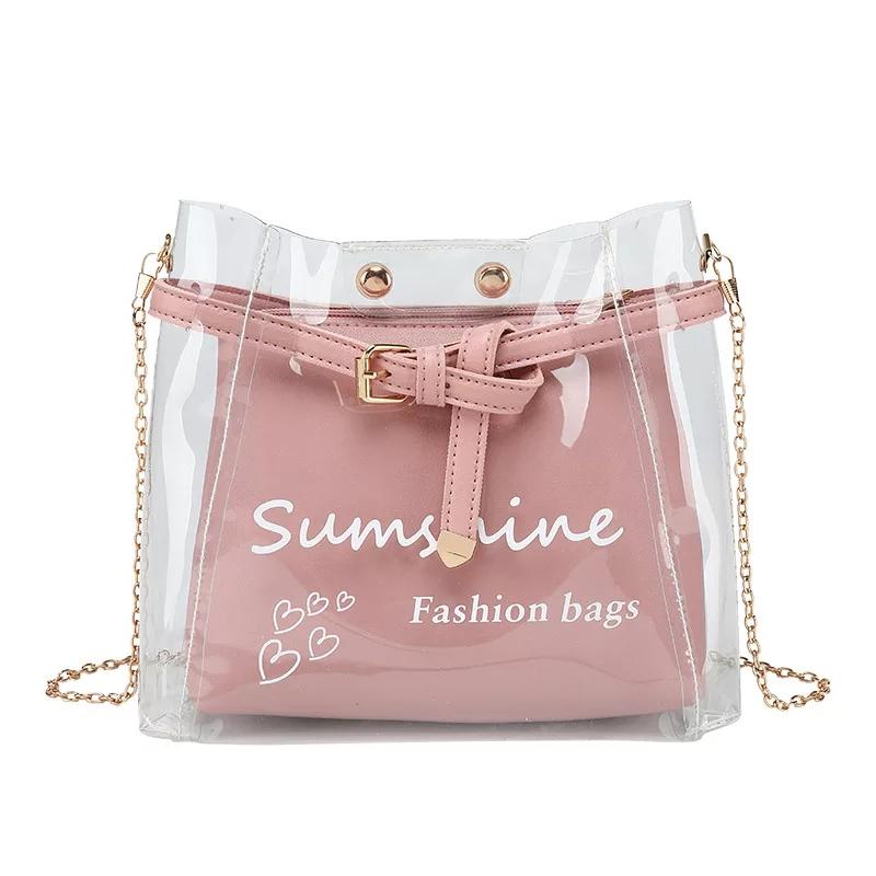 Women's Chain Transparent Bag Fashion Shoulder Bag Jelly Handbag Messenger Bag 2 Pieces Set Bag