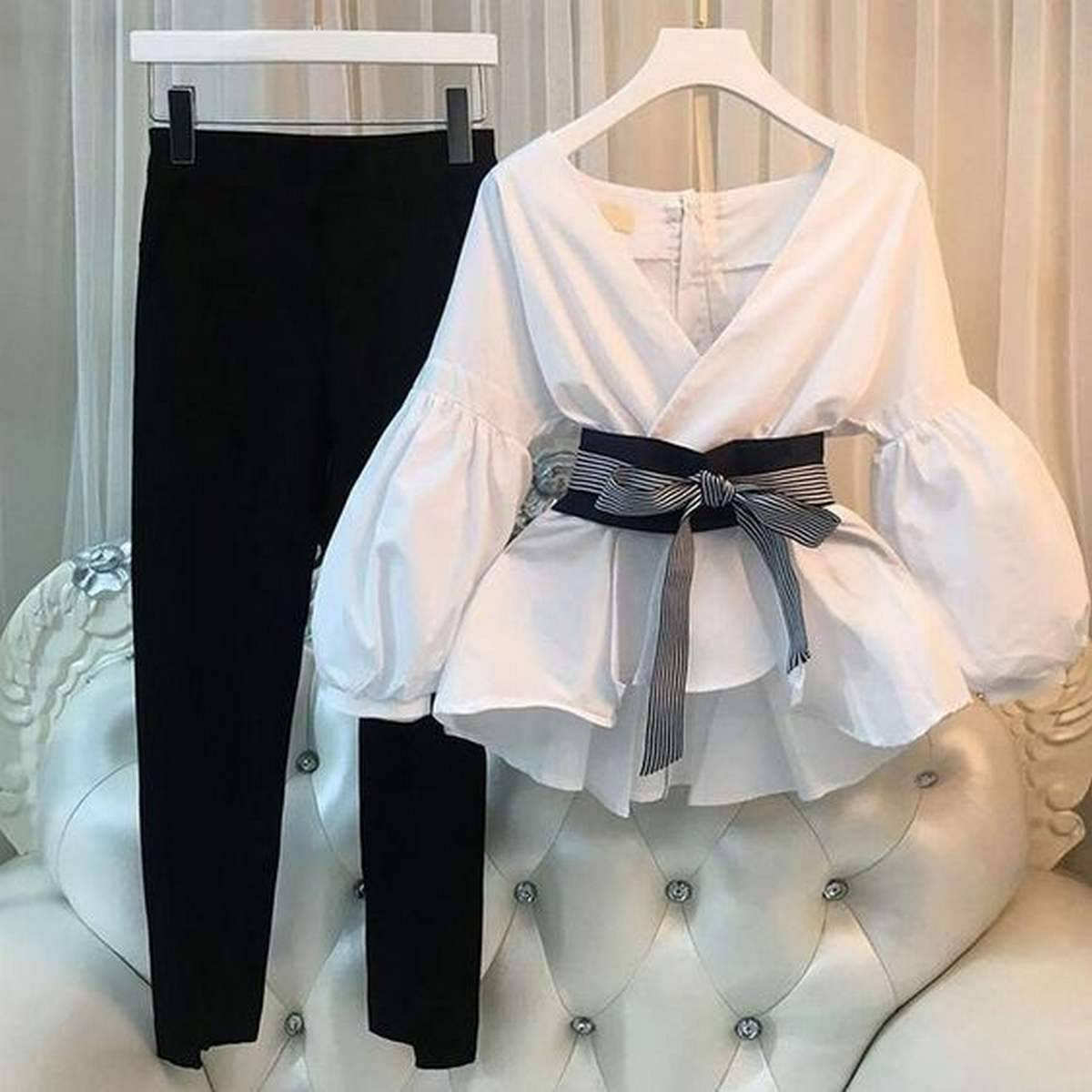 White & Black Cotton Shirt with Pant for Women