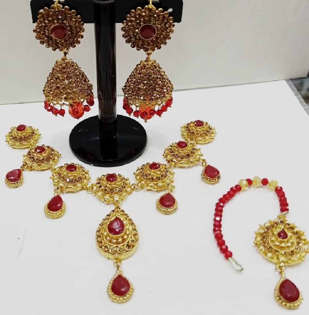 Stylish Red Pearls Mala