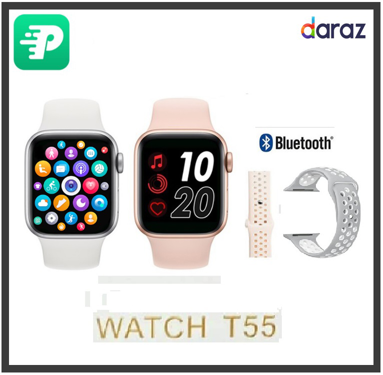 iWatch Series 5 T55 Smart Watch FREE DOUBLE STRAP Bluetooth Call Touch Screen Music Smartwatch Pedometer Sport Smartwatch Android & IOS supported  Bluetooth v 5.0  Watch