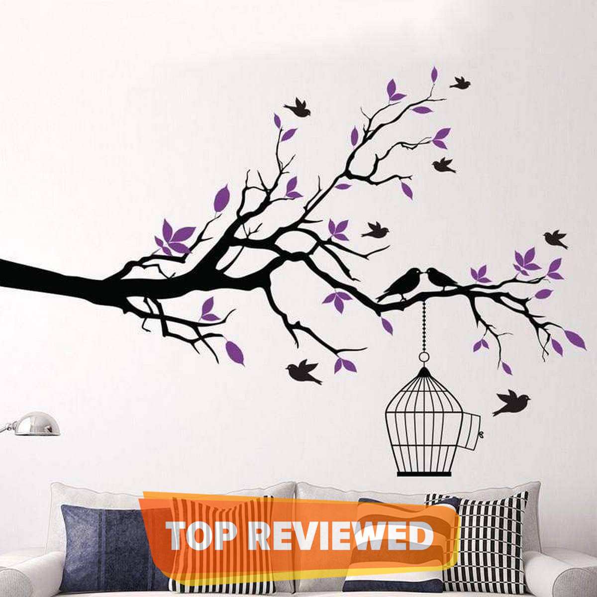 Tree Branch with Bird Cage Wall Art