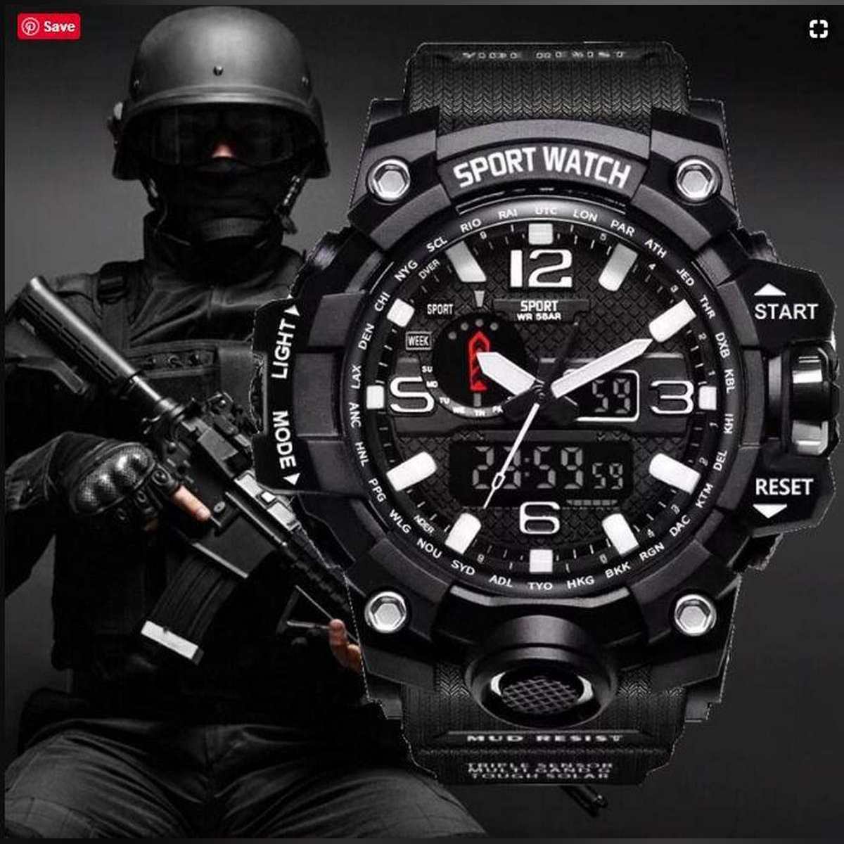 1155 Adult Double Time Watches for Boys & Men's Wristwatch Dual Display Water proof Digital Electronic 50M Watch 4 Color Luminous LED Light Sport Watch