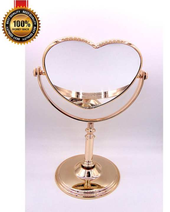 Desk Stand High Quality Beautiful Heart shape Portable Cosmetic Makeup Mirror Room Mirror Double-Sided Mirror Normal and Magnifying Mirror