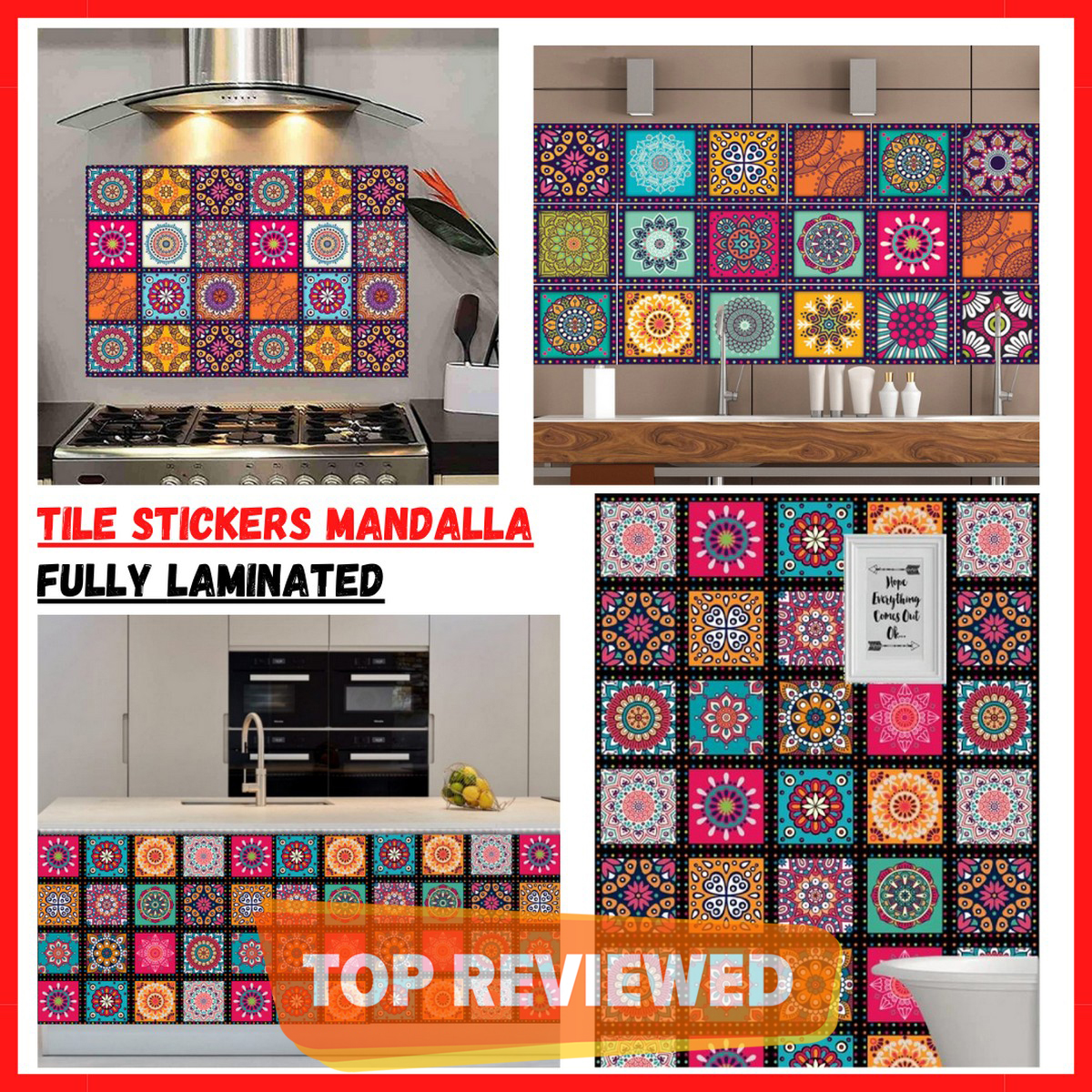 Tile Stickers Pack of 12  Flower Pattern Mandala Design Wall Decorative Self Adhesive Tiles Stickers Bathroom Kitchen Sticker Wall Wallpaper Border Decoration Giga