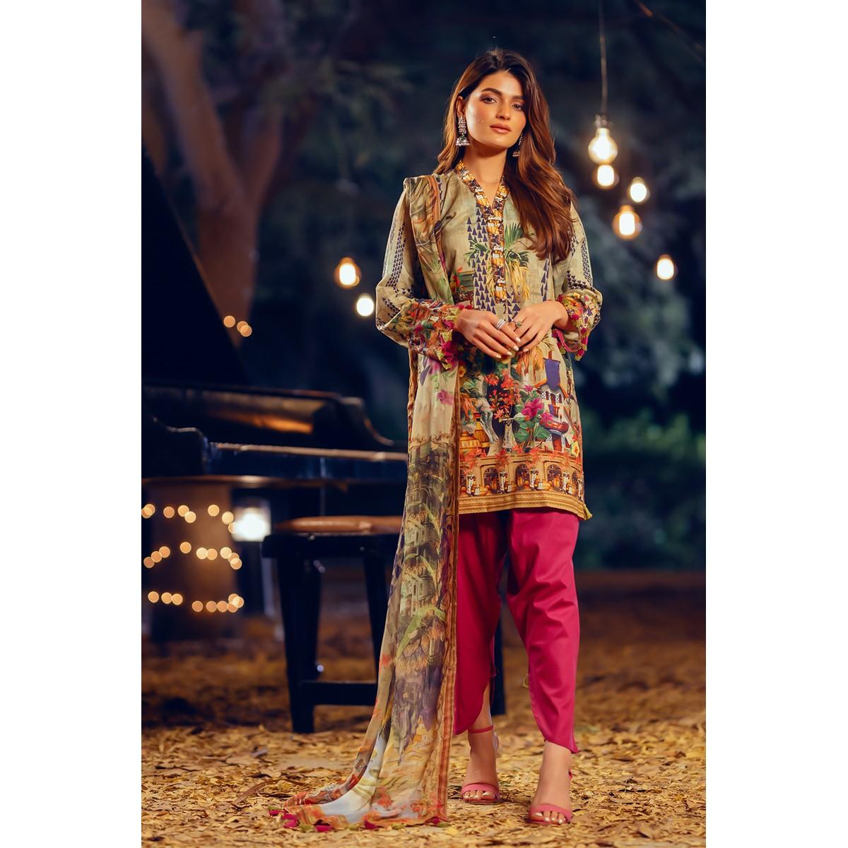 Maahru Eden Garden - Unstitched 3PC Summer Printed Lawn suit with Chiffon Dupatta
