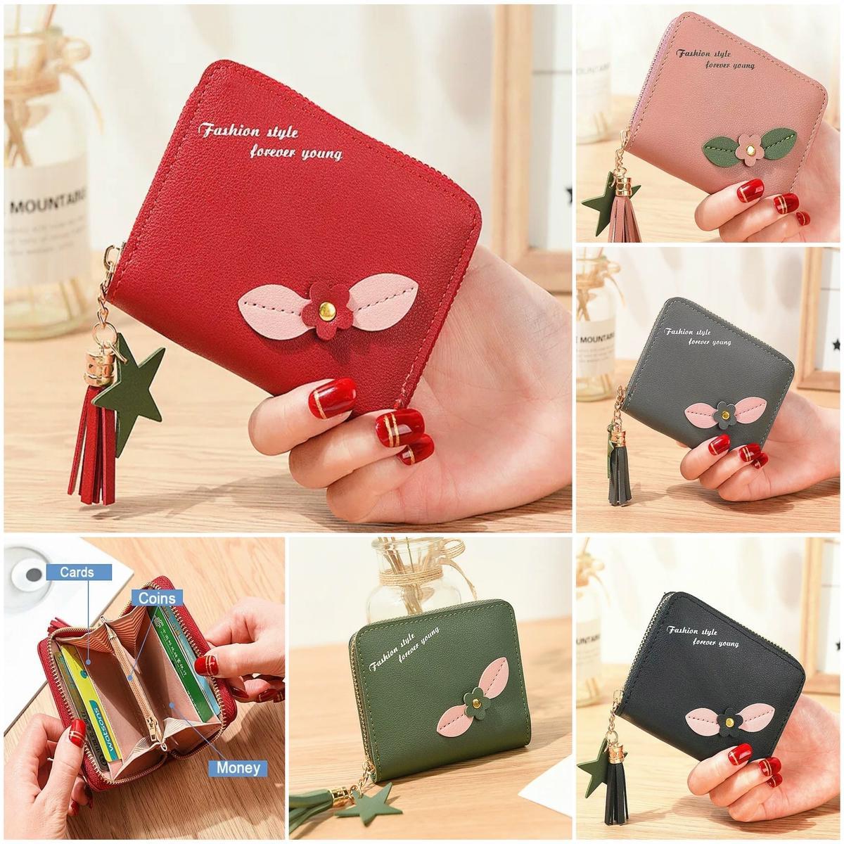 0c9b9316d9c544 Women Wallets Short Mini Zipper Purse Small Wallet Fashion Card Holder  Tassel Wallets Women Clutch Short