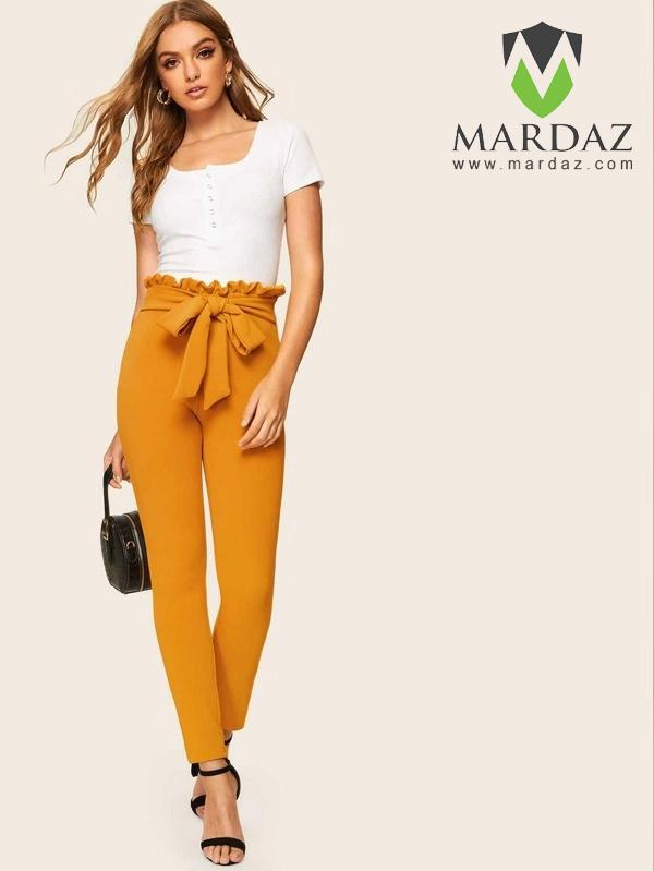 Mardaz Fashion Paper bag Waist Knot Textured Pants