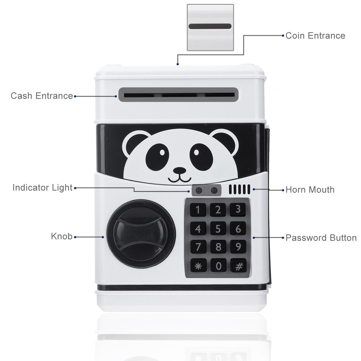 The Old Tree Panda Electronic Piggy Bank ATM Password Money Box Cash Coins  Saving Box Bank Safe Box Automatic Deposit Banknote Christmas Gift