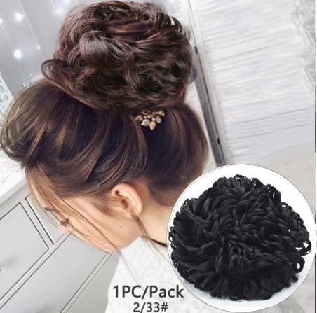 Fashion Women Wavy Curly Bun Synthetic Bud Hair Extension