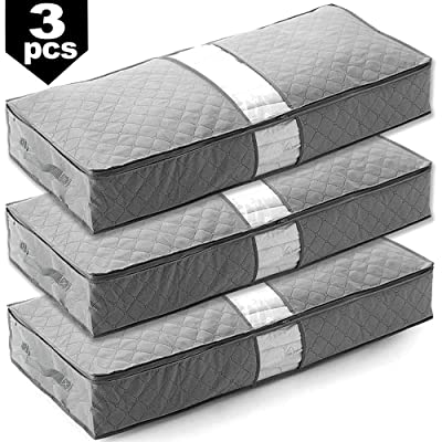 Pack of 3 - Underbed Storage Bag Home Storage Organizer Under The Bed Organizer Fits for Kids Men & Women Clothes /Shoes