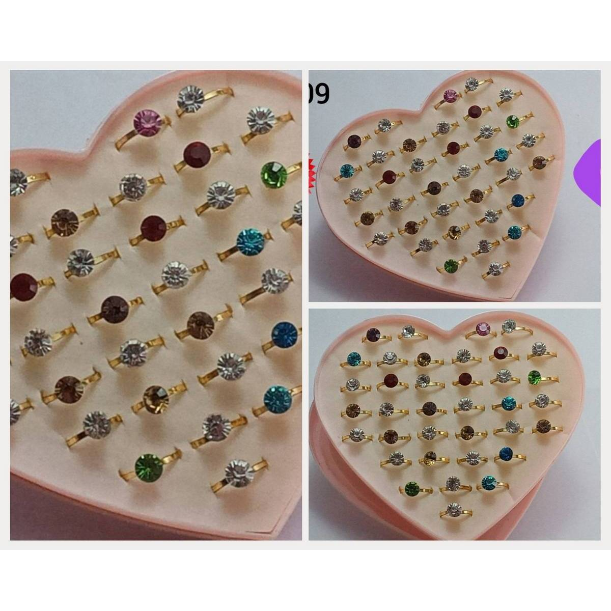 Pack of 36 Gold Plated Multi-Colours Beautiful Fashion Jewellery Charm Rings For Women / Girls