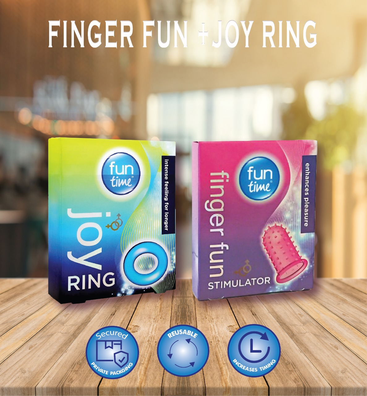 Playtime Pack Of 2 : Funtime Joy Ring And Finger Fun Condom