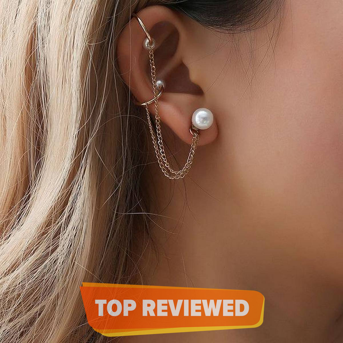 Pair of Lovely Ear Cuff in Golden Color